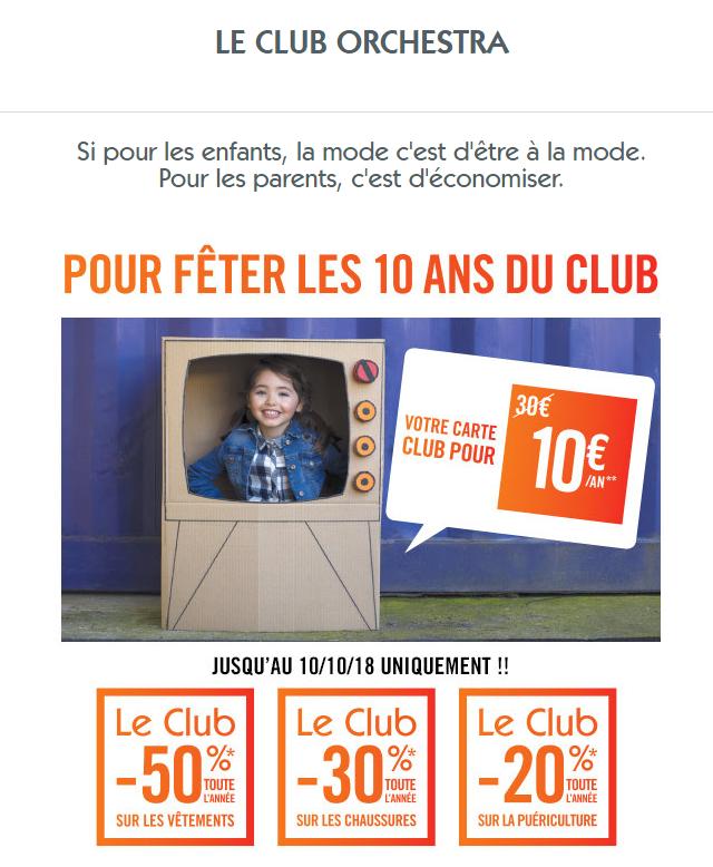 Carte Club Orchestra à 5 euros au lieu de 30 !