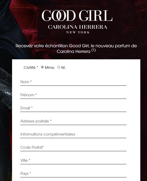 Echantillon parfum Good Girl gratuit